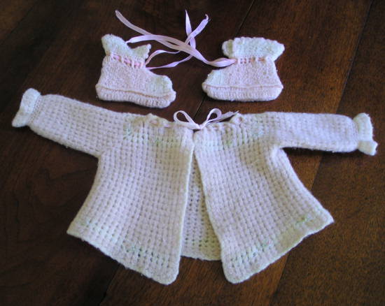 Vintage infant sweater and booties
