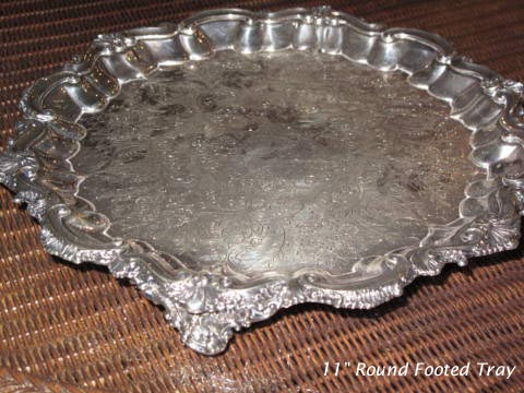Silverplated Round footed 11 inch tray