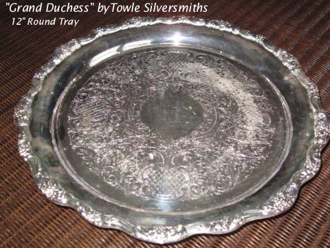 Towle silverplated round tray