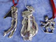 silverplated Christmas ornaments