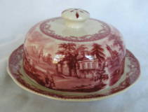 red transferware covered butter dish